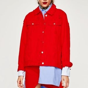 Zara Distressed Red Denim Jacket